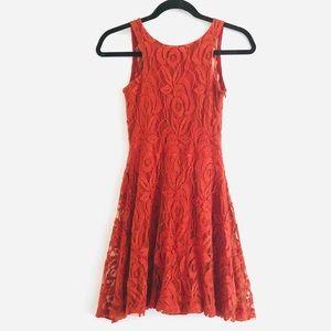 tobi Rust Cutie Pie Lace Low Back Skater Dress